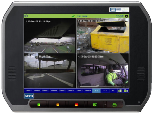 FleetLink display with multiple cameras showing
